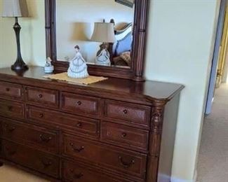 2010 Broyhill King size Bed,  bedding and the mattress : Dresser, end tables, and chest. $800 for all