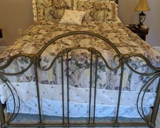 Vintage like metal bed Queen Frame and mattress, bedding $250