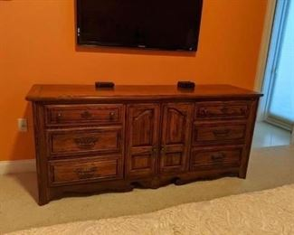 2013 Dresser, end tables, armoire  Kings size bed with mattress and bedding $ 800