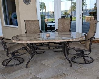 16 pcs Metal furniture Lounge Chairs (4), 2 small accent tables, 8 chairs and table $ 1000 ( 2010)