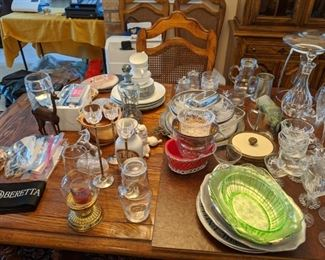 Glasses  vary in  prices grouping of 4 / $2.00 6/ $4.00 or 10/$8.00 there is a huge grouping of glasses wine etc $25.00 matching only