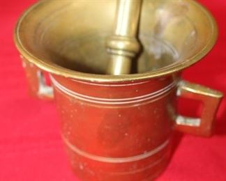 50% OFF, now $15.                                                                           $30. Solid brass pestle and mortar. 4.5 inches tall.