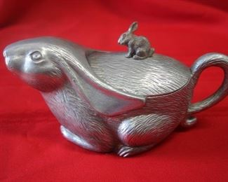 50% OFF, now $5.50.                                                                      $15. Pewter bunny jug/creamer with lid. 8 inches long.