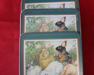 50% OFF, now $2.50.                                                                          $5. Set of 4 Pimpernel rabbit coasters.