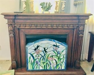Portable Electric Fireplace / Stained Glass Fireplace Screen