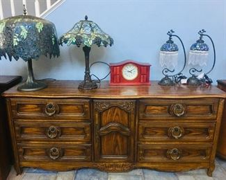 Long Dresser / Buffet Cabinet / Stained Glass Lamps