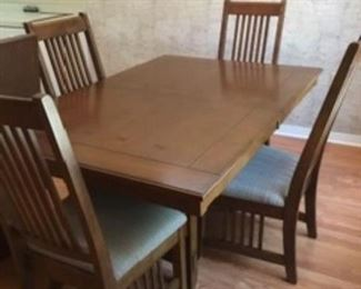 $250 Dining table & 4 chairs Mission style with leave