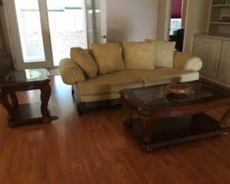 $150 Yellow sofa three seats - some spotting