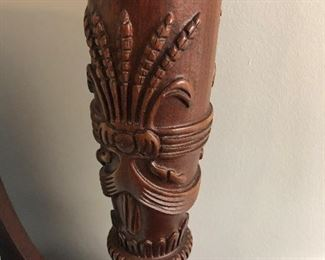$1,800 - Close-up of Kincaid rice-carved detail on exquisite solid mahogany king poster bed (available with Sleep Number bedding).