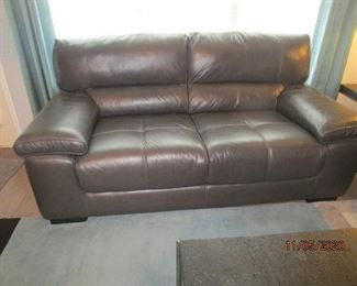 CHATEAU D'AX LEATHER DARK GRAY  ITALIAN LOVE SEAT