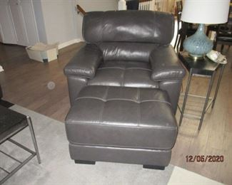 CHATEAU D'AX ITALIAN LEATHER CHAIR AND OTTOMAN