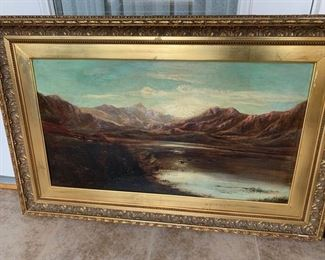 """$2,800.00......Large Original Oil on Canvas Painting by Charles Leslie 1825-1898.  Framed measures 41"""" x 26"""".  Frame has a few places where paint is peeling see following pictures.  Signed in Left corner.  Featured is a Shepard and his flock, Beautiful Mountain Highland Loch scene with  birds over the water.... a very lovely painting."""