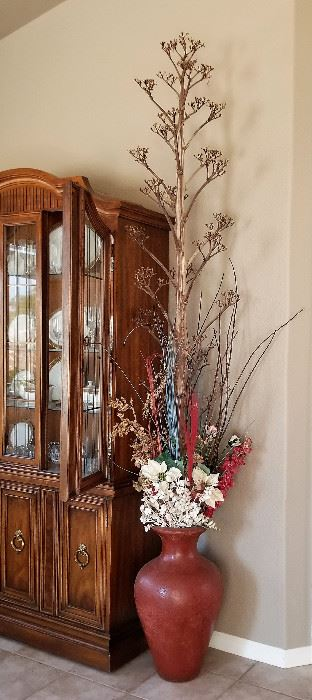 #3 - Red Urn Vase - $48.00   Florals sold separately               #3A - Agave skeleton approx. 8 ft tall - $45.00                                                                 Small China cabinet also available. More photos to come!