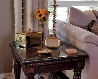 #7 - Wood and black marble side table - $145   (has matching console & coffee table where you can see a good view of the top )                                                               Accessories sold in other photos