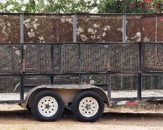 16 foot Top Hat Trailer 2005 - has separate front storage unit that can lock and drop down ramp gate & new flooring - $1900.