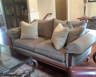 Sofa with wood accents