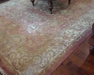 Sarouk rug, made in India, frim Ethan Allen, salmon and ivory, 140 inches long x 101 inches wide