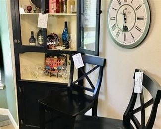 Black Corner Cabinet and 2 Black Bar Stools                               Call NOW for your appt. 501-940-4178