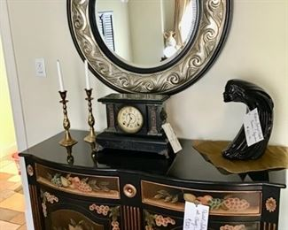 Black Painted Cabinet with Quartz Top. Price is $320.00   Round Mirror, Antique Seth Thomas Victorian Mantle Clock w/Marble Top (As Is) $200.00