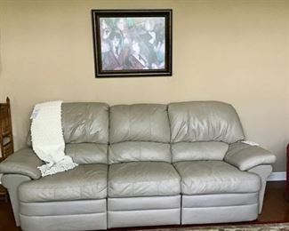 Faux Leather Reclining Sofa Price is $300.00.  Color is Taupe