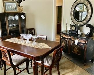 """Antique Dining Table w/6 chairs & 2 leaves, in excellent condtion-Priced at $600.00. Black Cabinet w/Quartz Top Priced at $320.00 & Antique China Cabinet, & very nice area rug.   Area Rug is very clean and in excellent condition.  7'8"""" X 10'10"""" Price is $130.00"""