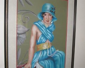 "$250.00, Lady in Blue 40 x 30"" Framed"