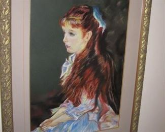 "$150 - Red-Haired Girl by D. Stribley, 37 x 29"" frame mixed media"