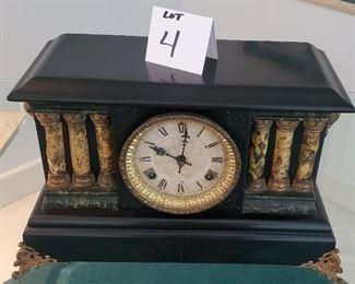 "$75 - Waterbury 'Dewhurst' mantel clock. 11""T x 17.25""W . No key. Lot #4"