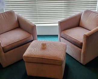 """$150 - Nice! Lavender chairs & stool. The chairs seat height is app. 18"""" with a total height of 28"""" with the back. They are app. 29.5""""W. 2 chairs & a stool. Lot #10"""