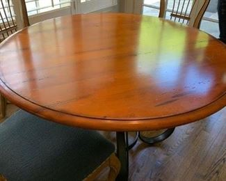 """SCHEDULE AN APPOINTMENT TO VIEW IN PERSON in person this stunning Baker Milling Road maple table measures 48"""" round with wrought iron pedestal legs -- purchased 2002.  $795."""