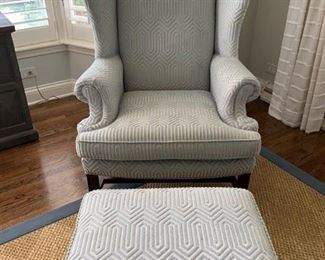 """SCHEDULE AN APPOINTMENT TO VIEW IN PERSON these two newly reupholstered Sherrill wingback chairs and an ottoman. Light blue fabric is very on-trend. Chairs have normal wear and tear based on age. Originally purchased in 2002. Very comfortable. $600 includes 2 chairs and an ottoman. 43""""H, 33""""W, 23D"""", seat height: 19"""""""
