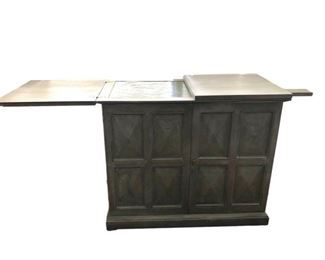 """SCHEDULE AN APPOINTMENT TO VIEW IN PERSON....This beautiful circa 1960s oak bar or serving buffet on casters with a slate top. It's a stunning slate grey color that will blend in easily with your decor.  See next picture for interior shot.  30 1/2""""H, 36""""W, 18""""D - $450. Picture 1 of 2."""