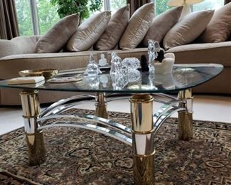 Brass and chrome glass top coffee table