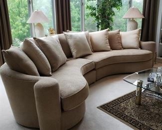 Bernhardt Furniture Co. two piece curved sofa