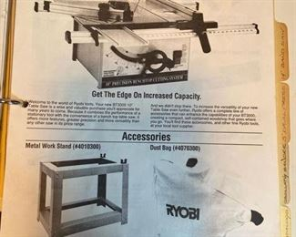 """Ryobi 10"""" Table Saw with dust bag & blade cover                    on Stand  Serial No. 12933-9142 – Model No. BT3000; With Instruction Manual   $250"""