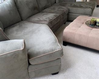 "GREEN UPHOLSTERED 3 PIECE SECTIONAL  FROM ART VAN 132"" L x 68"" D x 31""H $600"