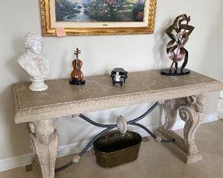 "ROMAN STYLE STONE HALLWAY TABLE  72""L x 24""Wx 34.5""H $350"