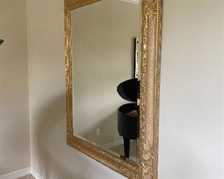 "LARGE GOLD GILDED BEVELED MIRROR 47""W x 58""L $250"