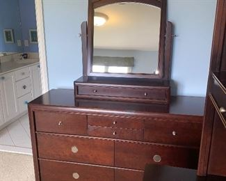 "DRESSER WITH MIRROR BY YOUNG AMERICA 56""L x 18""D x 33""H  67"" HEIGHT WITH MIRROR  $140"