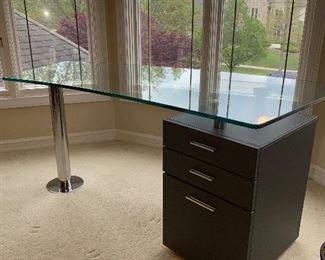 "MODERN GLASS TOP & METAL BASE DESK WITH GRAY 3 DRAWER FILE CABINET  65""L x 29""W x 29.5""H  $180"