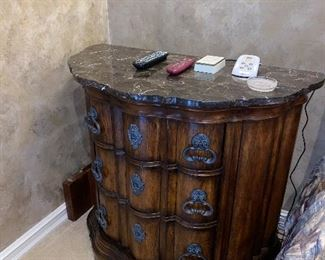 "DEMI LUNE WITH STONE TOP NIGHTSTAND MEASURES  39.5L x 20.5""D x 36""H  $300 EACH"
