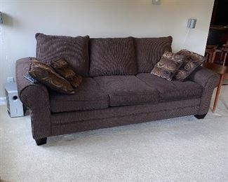 "CHOCOLATE BROWN UPHOLSTERED 3 PILLOW SOFA COUCH 96""L x 45""D x 30""H  $300"