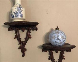 Wall sconces $18 pair. Oriental vase $9 Glass perfume bottle $6