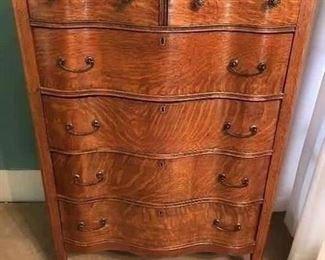 "Antique American tiger oak serpentine highboy chest $480  461/2"" tall x 34"" w x 19 D"