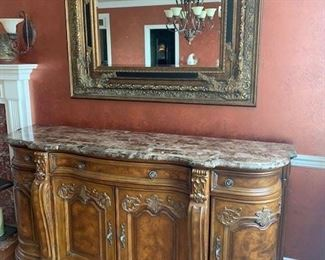 """COLLECTION EUROPA MARBLE TOP SIDEBOARD 76""""X21""""X37"""" $550"""
