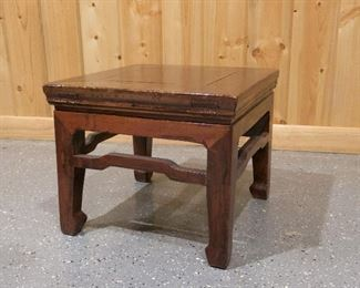 Antique Chinese Square foot stool with humpback stretcher after Qing Dynasty=$175
