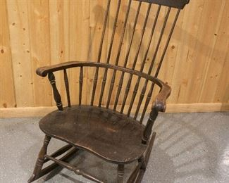 19th Century ANTIQUE Windsor Rocking Chair with 8 Spindle Comb Back =$85