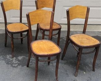 "4 Antique/Vintage Art Nouveau Thonet Style Bentwood  Bistro/Cafe Chairs (marked ""POLAND"" Nos 20, 22, 27, 46 original) brass corners on back legs=$225 for 4"