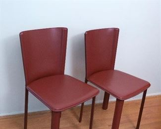 2 mint condition Red Leather Nuvola SB Chairs (#CA37657 IT ), Made in Italy, Pair for $275