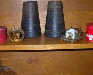 PR. LEATHER  CUFFS      HORSE SHOE INK WELL                     2 MINIATURE  STETSON  HAT BOXES